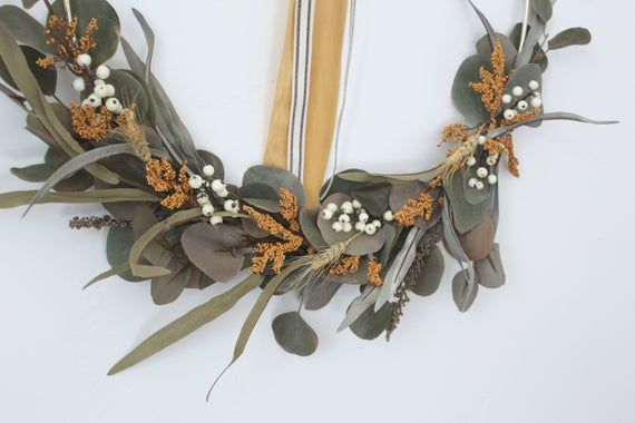 Photo of CLAIRE, fall wreath, gold hoop wreath, wreath, modern wreath, front door wreath, wall hanging, eucalyptus wreath, berry wreath, wheat wreath