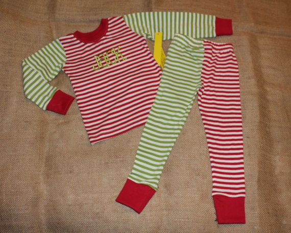 cd5e08ba6b Adorable Christmas pajamas set 6 9 12 months red and green stripes Great 4  holiday pictures   4 personalized appliqués or a name like Little Miss  Match - ...