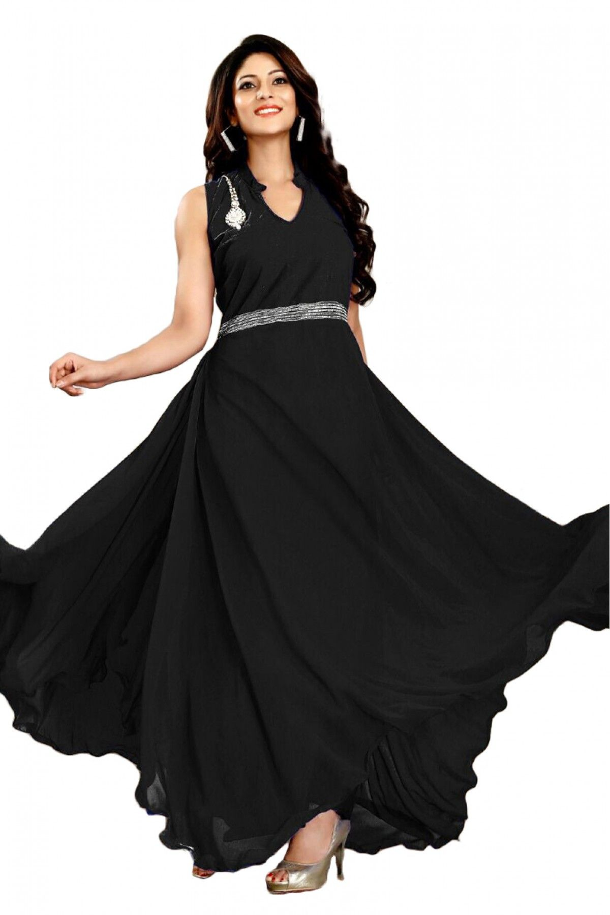 Georgette Party Wear Gown In Black Colour