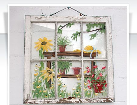Things To Do With Old Windows Window Painting Painted Window Panes Window Art