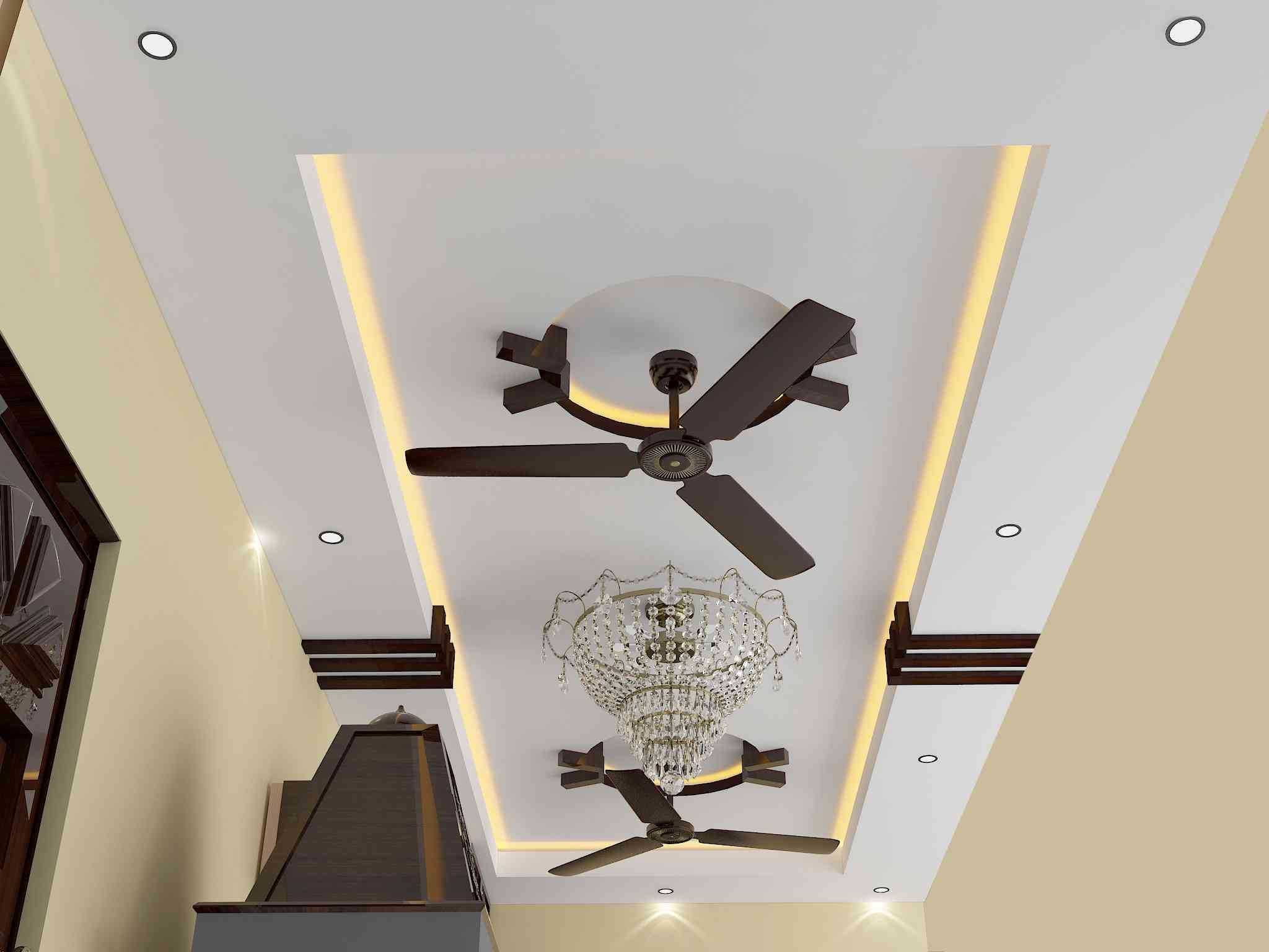 Pop Ceiling Design For Hall With 2 Fans - Wallpaperall ...