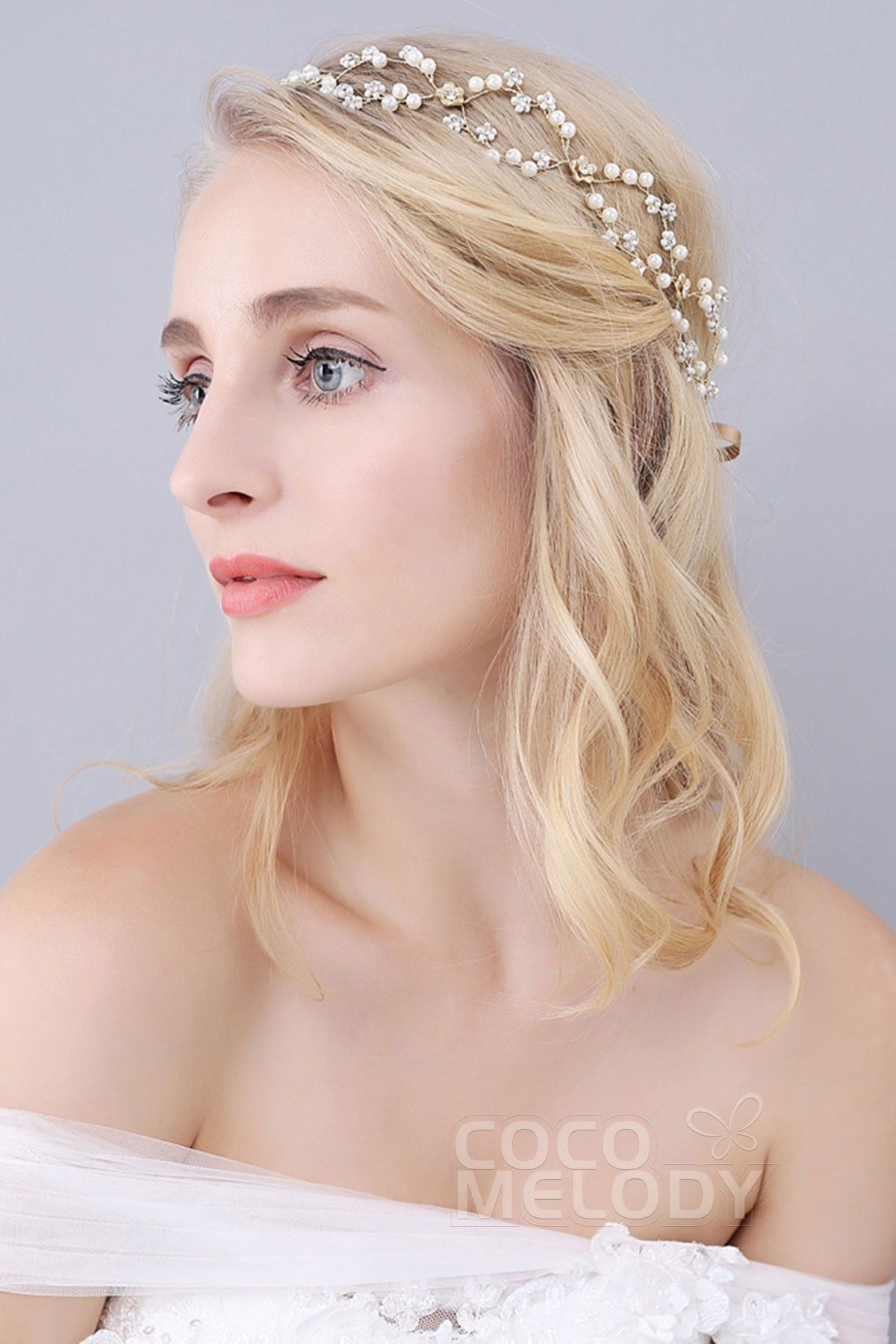 perfect gold alloy wedding headbands with rhinestone