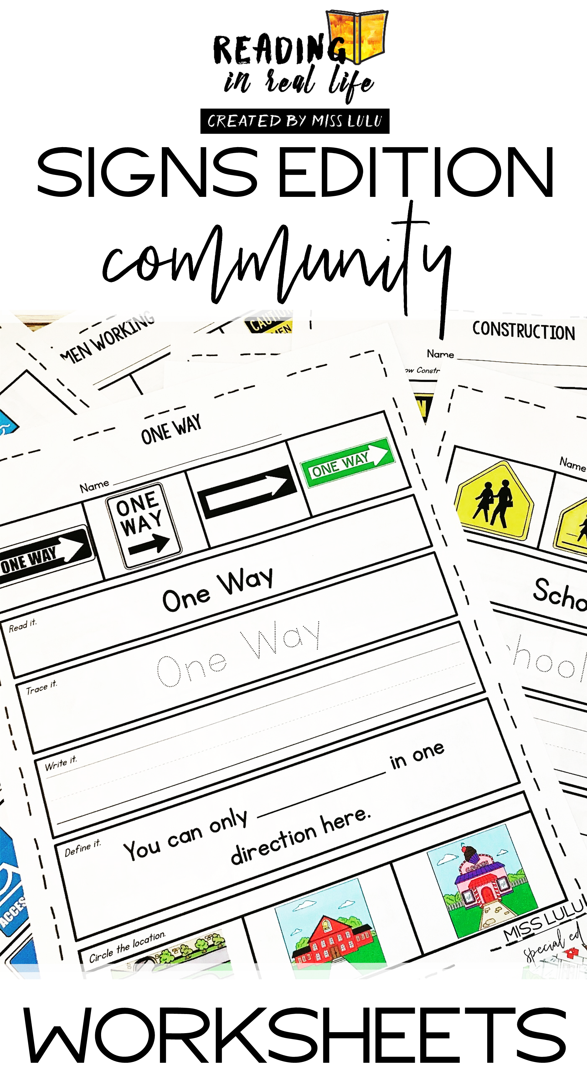 Community Signs Worksheets Reading In Real Life In