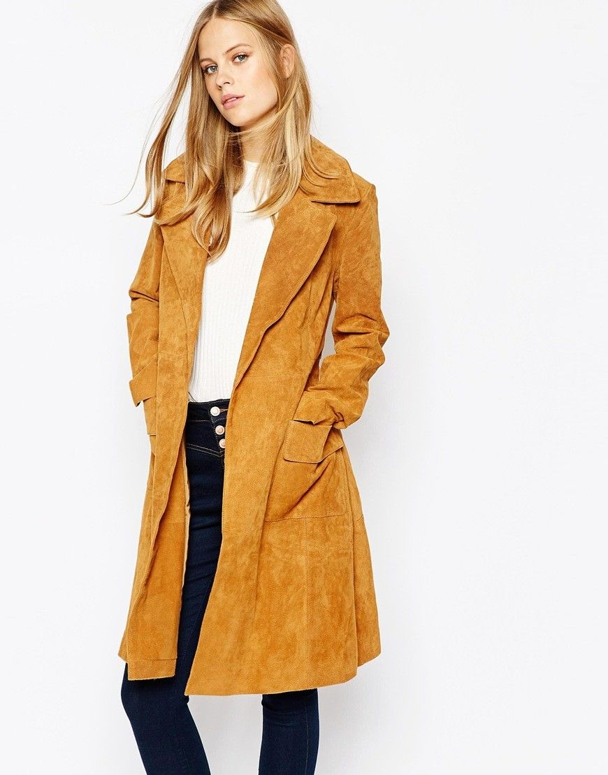 Lost Ink Suede Belted Trench  ba060c1126e