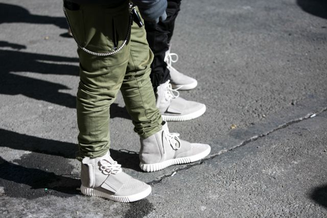 New York Fashion Week Fall-Winter 2015/16, day 2: Kanye West in Yeezy Boost trainers from his new collection for adidas Originals