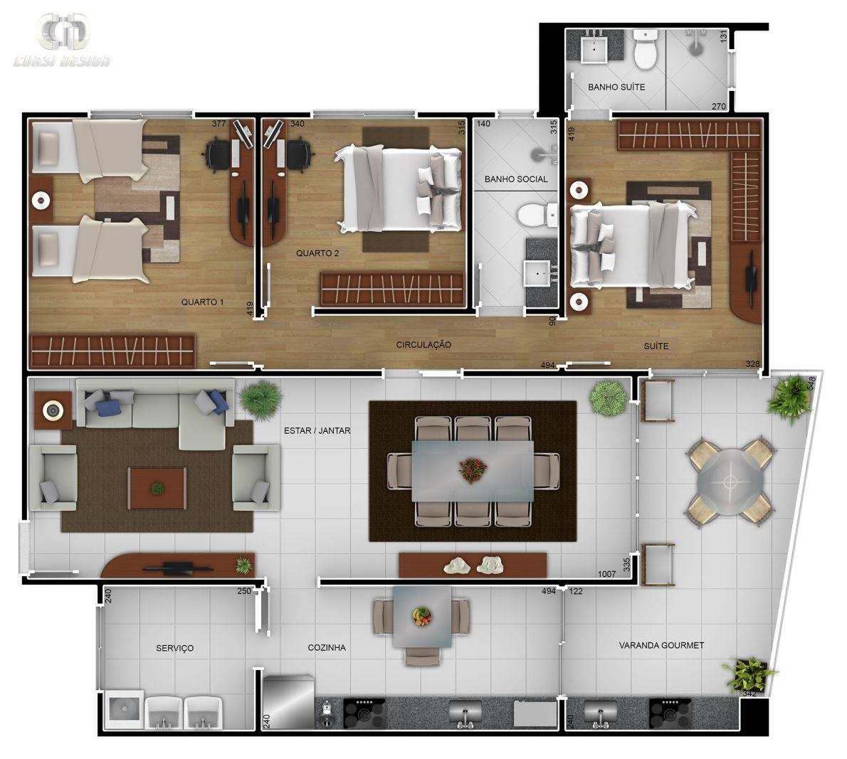 Well-known planta-humanizada-predio-apartamento-maquete-3d | Plantas Baixas  UX86