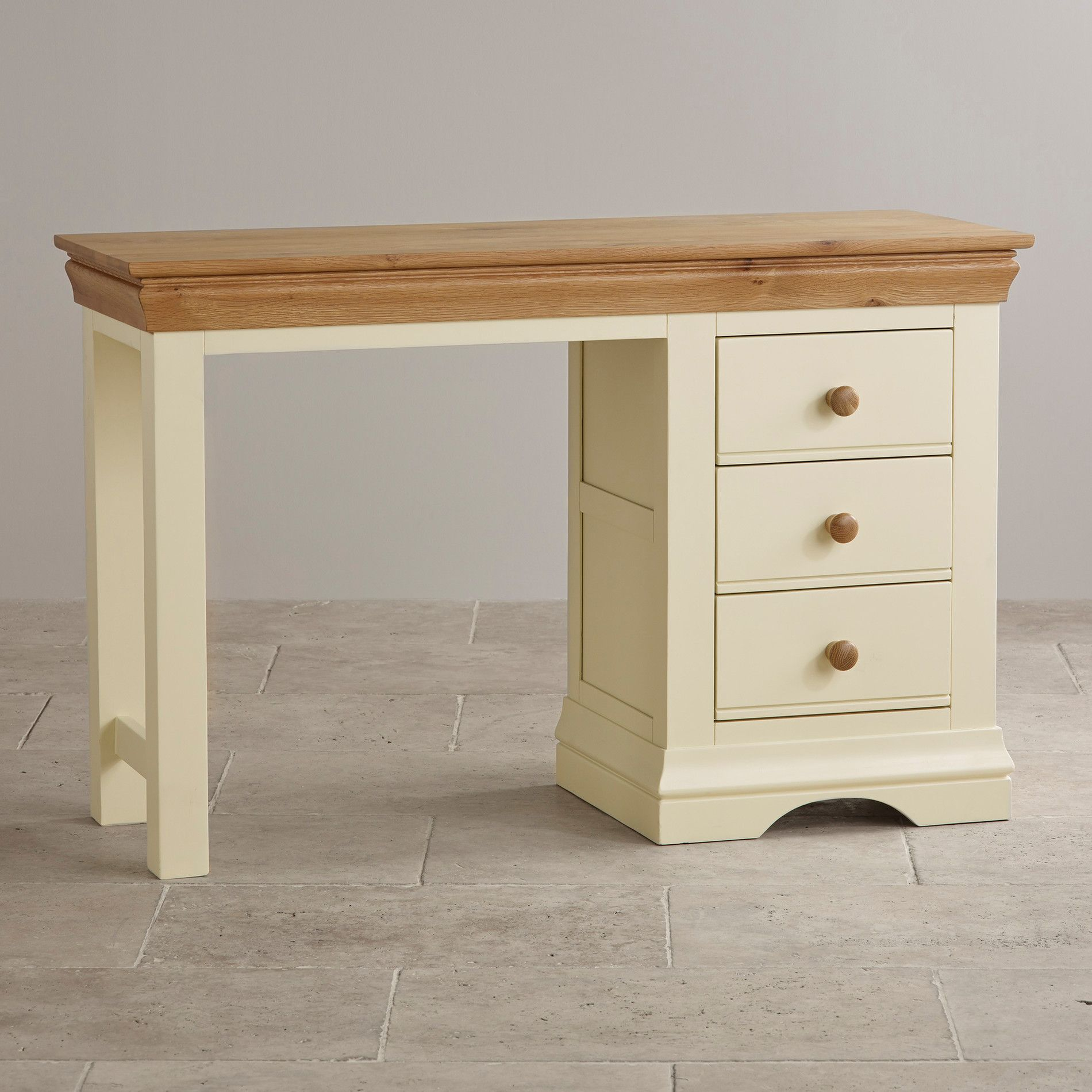 Blending Style With Functionality And Durability, This Painted Dressing  Table Features A Distinctive Cream Finish. Oak Furniture ...