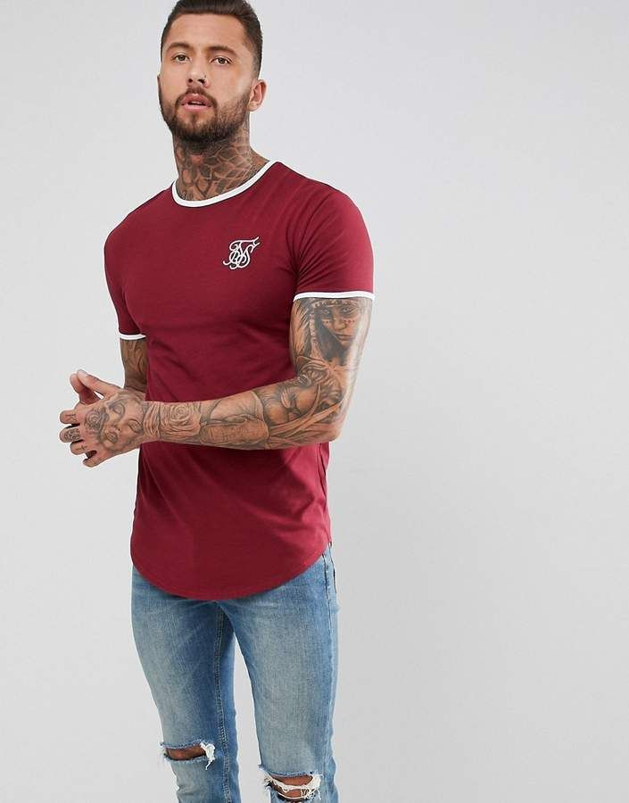 Latest Collections Sale Online Sale Low Cost Muscle Raglan T-Shirt In Burgundy - Burgundy Siksilk 9KPihiEor