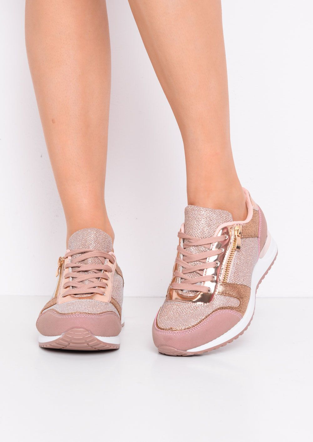 Glitter Metallic Lace Up Trainers Rose
