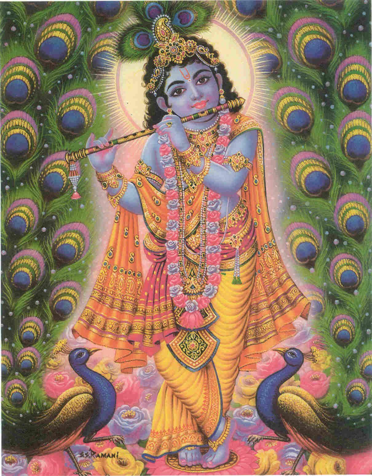 Sri Krishna framed by peacocks