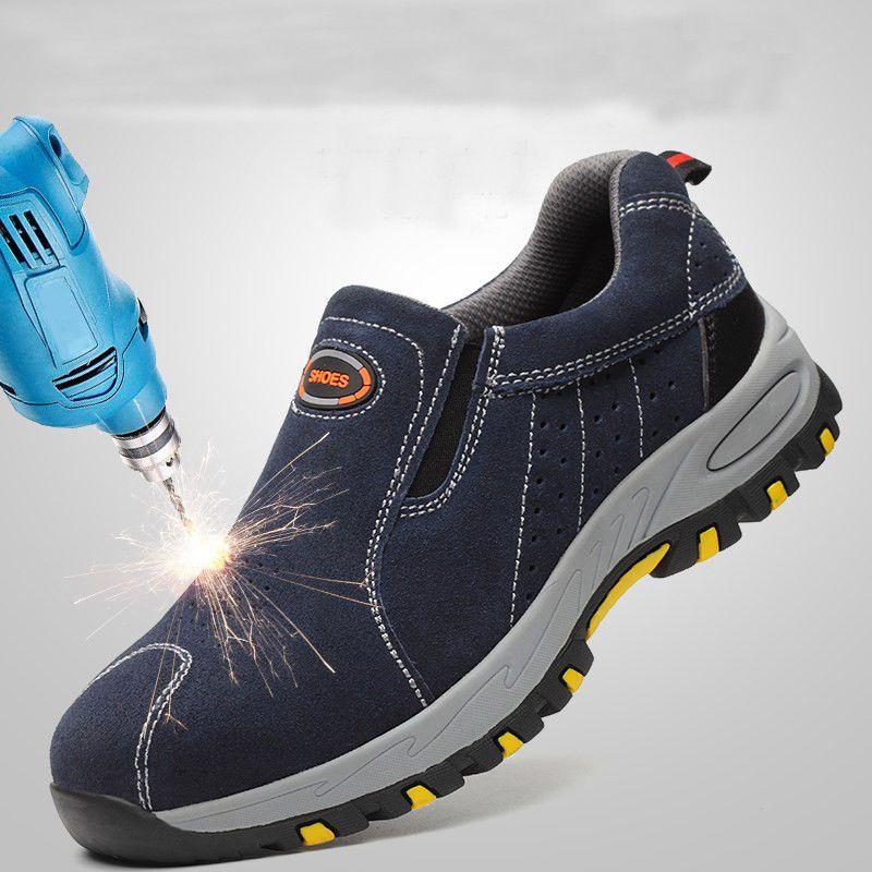 Men Women Steel Toe Shoes Safety Sneaker Lightweight Slip-on Breathable Hiking Walking Shoes