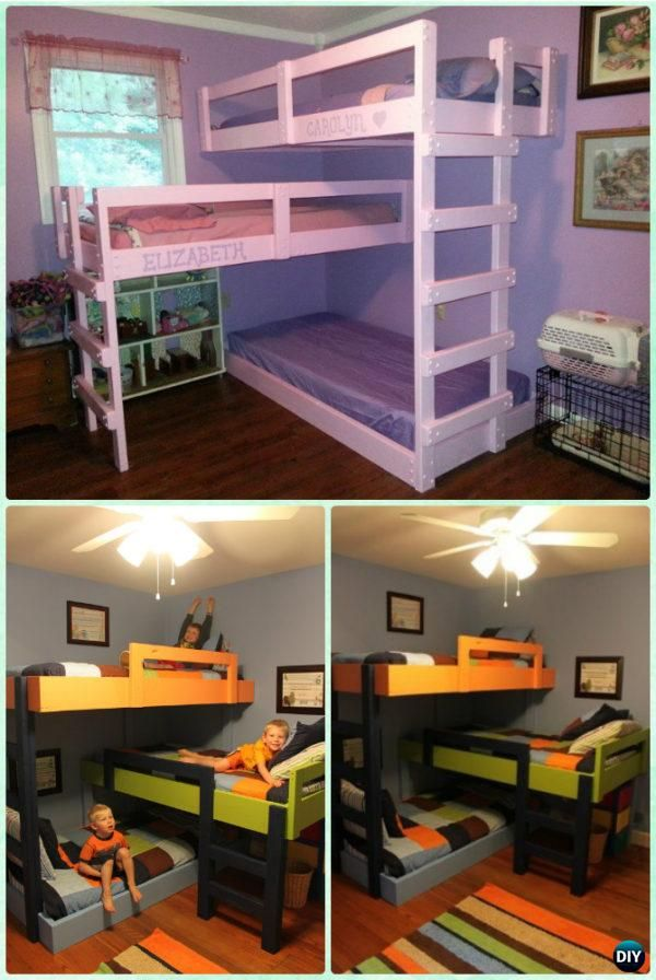DIY Kids Bunk Bed Free Plans [Picture Instructions] #triplebunkbeds
