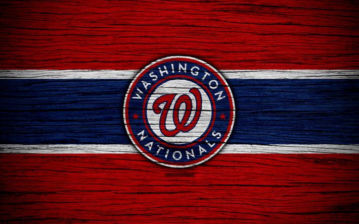 new style 8d211 22f1b Download wallpapers Washington Nationals, 4k, MLB, baseball, USA, Major  League Baseball, wooden texture, art, baseball club