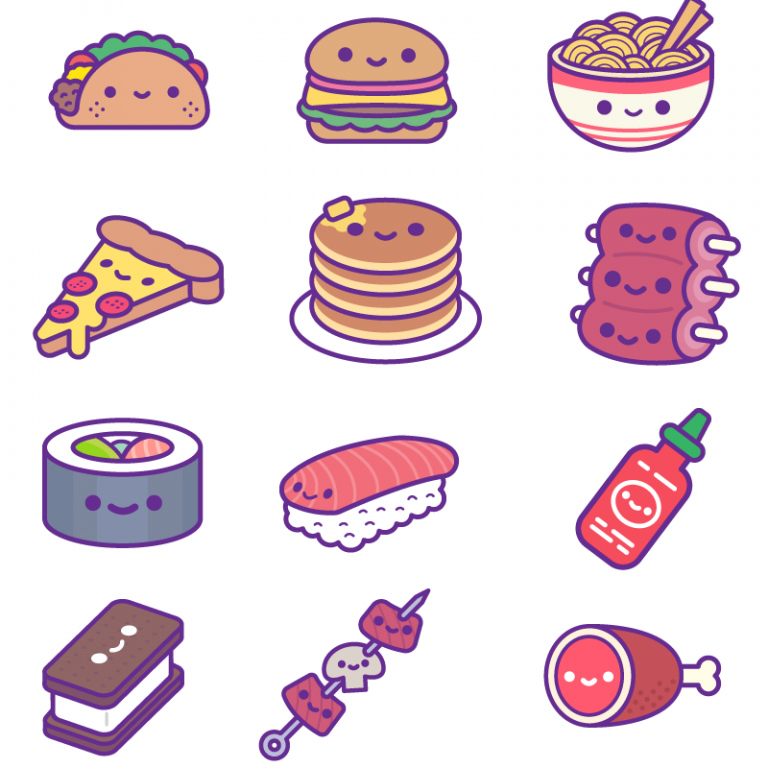 Кавай картинки для наклеек еда