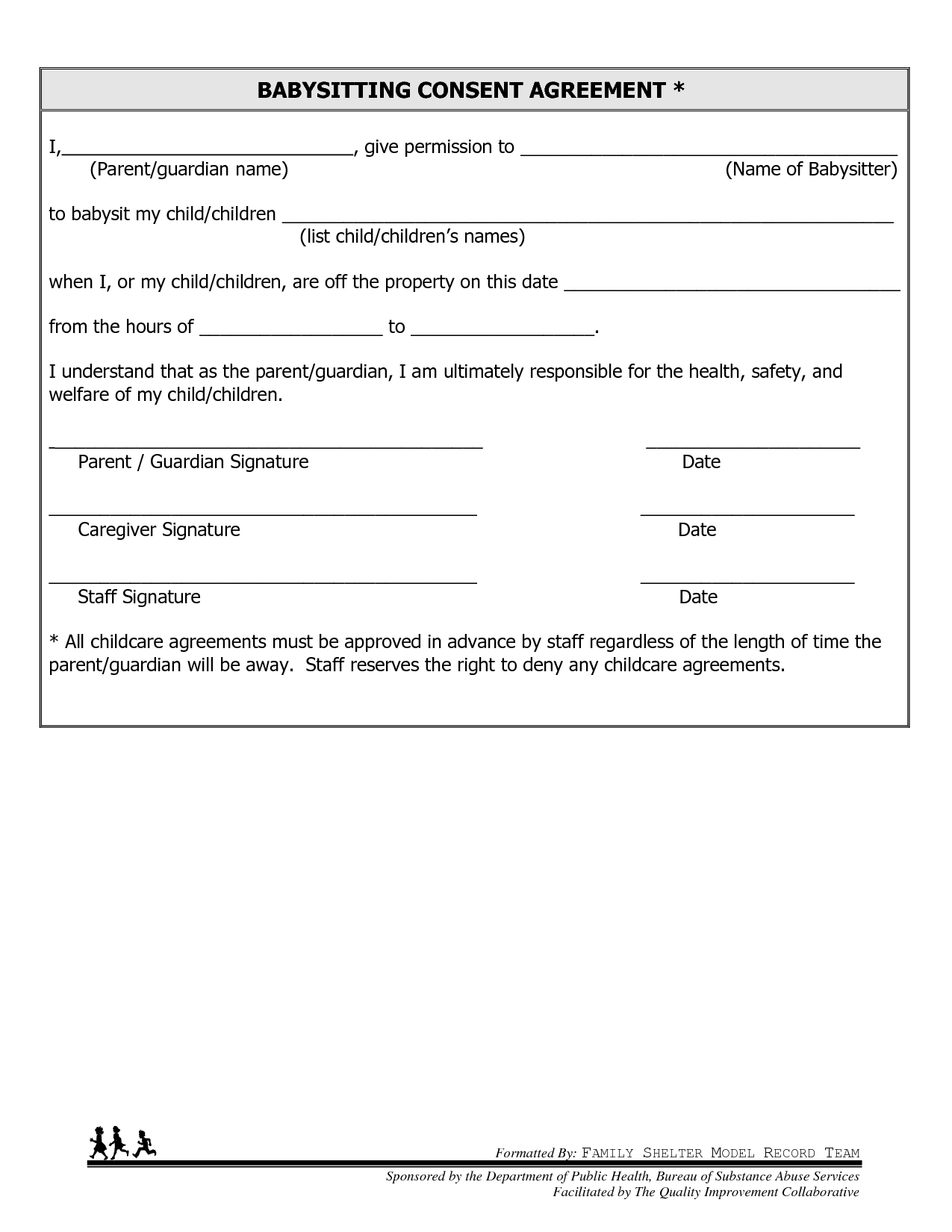Free Printable Babysitting Contract Forms