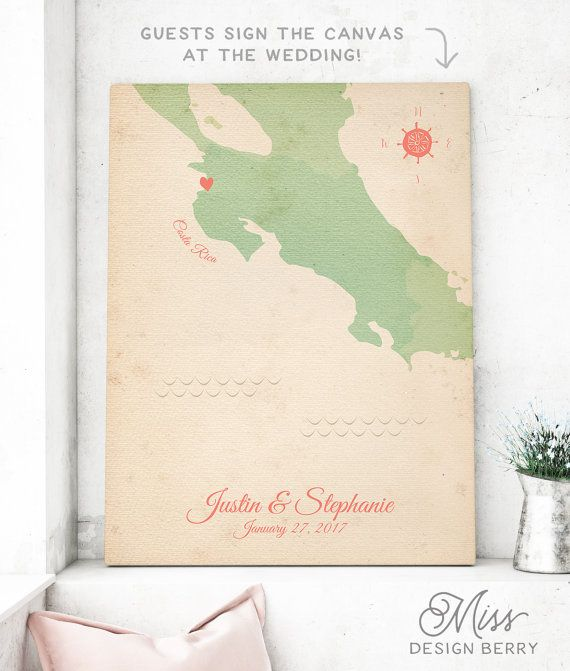 Wedding Map Print for Guest Signatures - Vintage Wedding GuestBook alternative