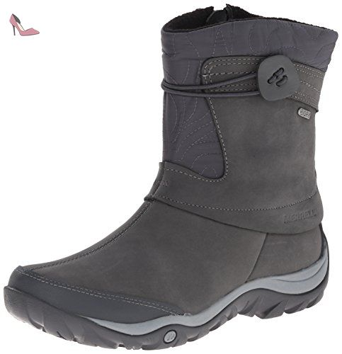 Merrell Women's Dewbrook Zip Waterproof Winter Boot, Grizzle Grey, 7 M US.  Cold-weather boot in waterproof full-grain leather with M Select DRY  low-bulk ...