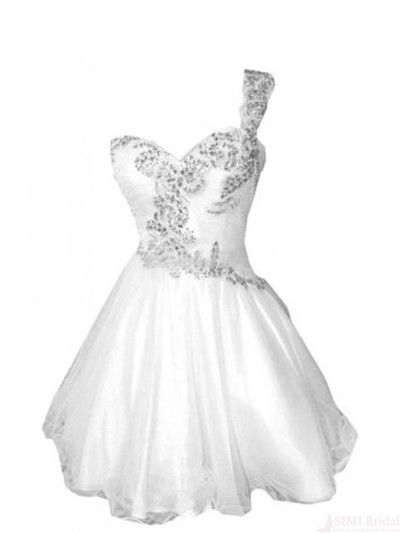 21683f0b8691 One Shoulder Beading White Short Mini Homecoming Cocktail Dress from  FlyinDance