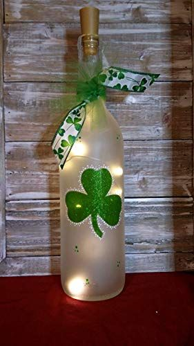 Amazing offer on Shamrock Wine Bottle Decoration Party Glass Irish online is part of Wine bottle decor, Bottles decoration, Easter wine bottles, Glass bottle crafts, Painted wine bottles, Wine bottle diy - Shop a great selection of Shamrock Wine Bottle Decoration Party Glass Irish  Find new offer and Similar products for Shamrock Wine Bottle Decoration Party Glass Irish