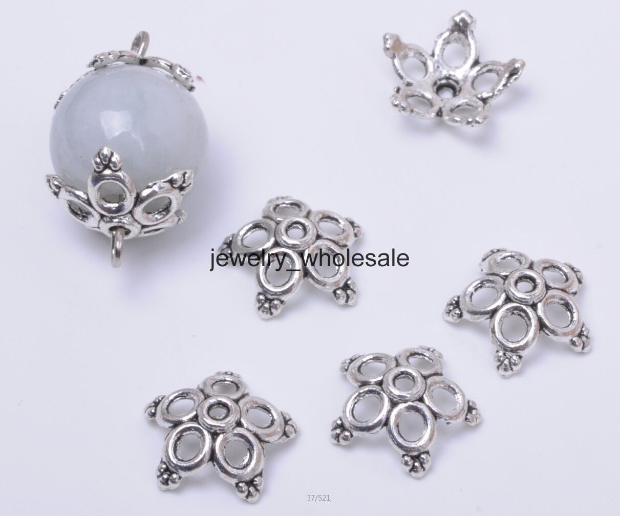 Sterling Silver 6mm Floral Design Bead Caps Jewelry Findings