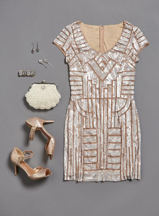 The gilded age of glamour takes a glorious spin in this stunning beaded dress.