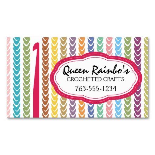 Rainbow Colors Crochet Hook Yarn Strings Business Card Zazzle Com Crochet Business Colorful Business Card Rainbow Colors