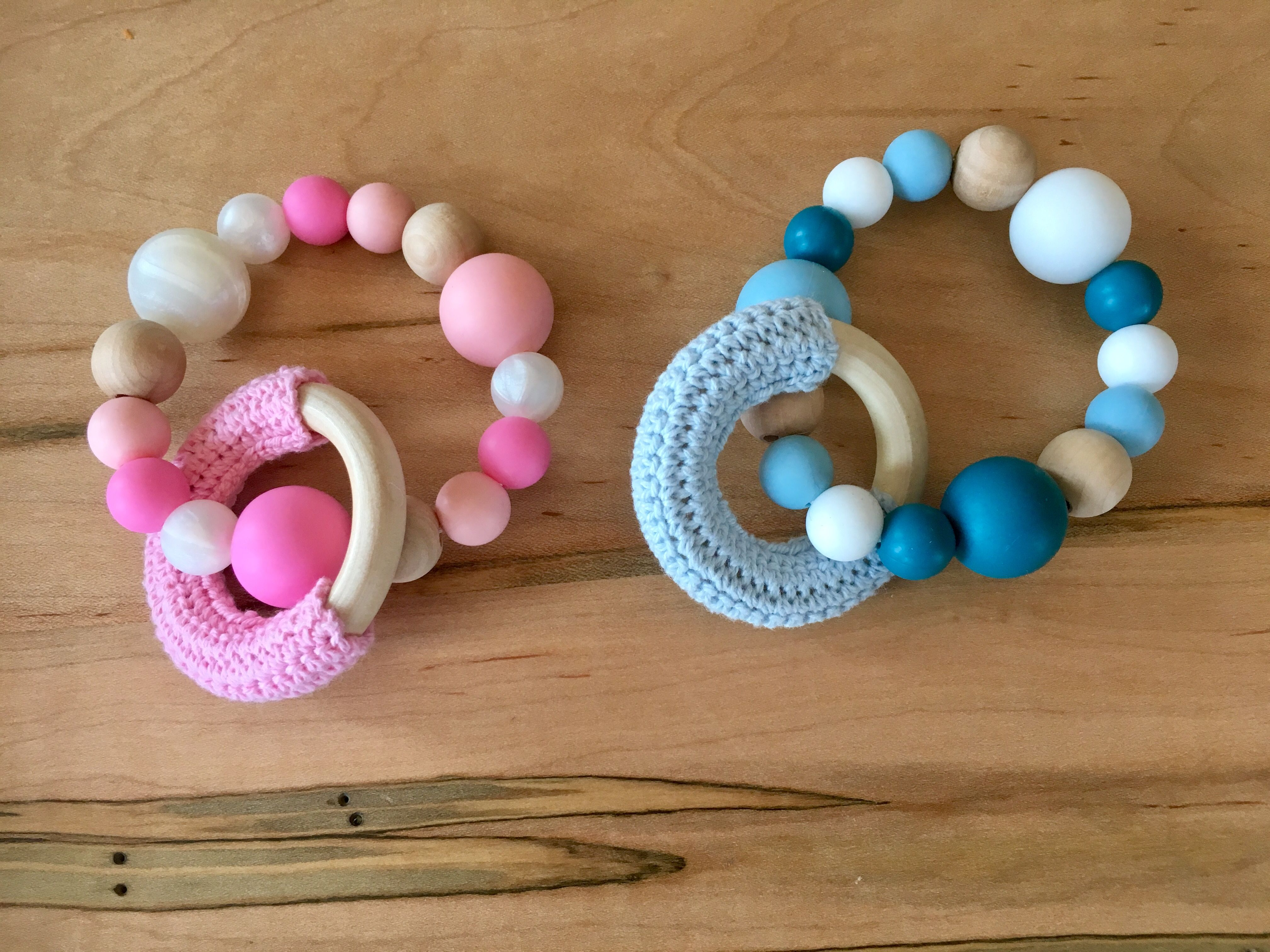 1 Set Natural Wooden Rings Crochet Teether Beads DIY Baby Teething Toys Jewelry
