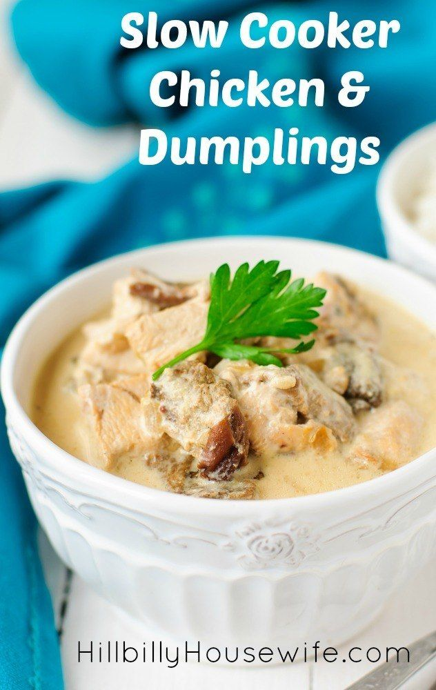 slow cooker chicken and dumplings made with chicken, cream of chicken ...