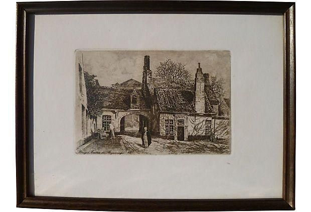 Original etching entrance to the village on chairish com