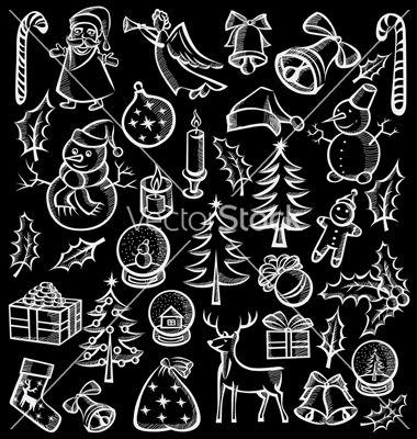 Merry christmas doodle designs vector by leedsn on VectorStock®