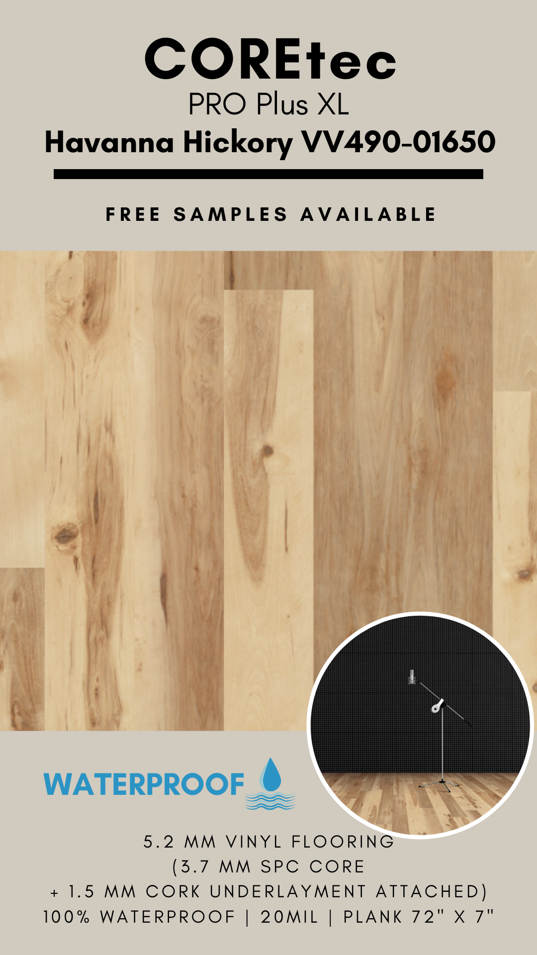 Coretec Pro Plus Xl Havanna Hickory Vv490 01650 Spc Vinyl Flooring In 2020 Vinyl Flooring Cork Underlayment Flooring