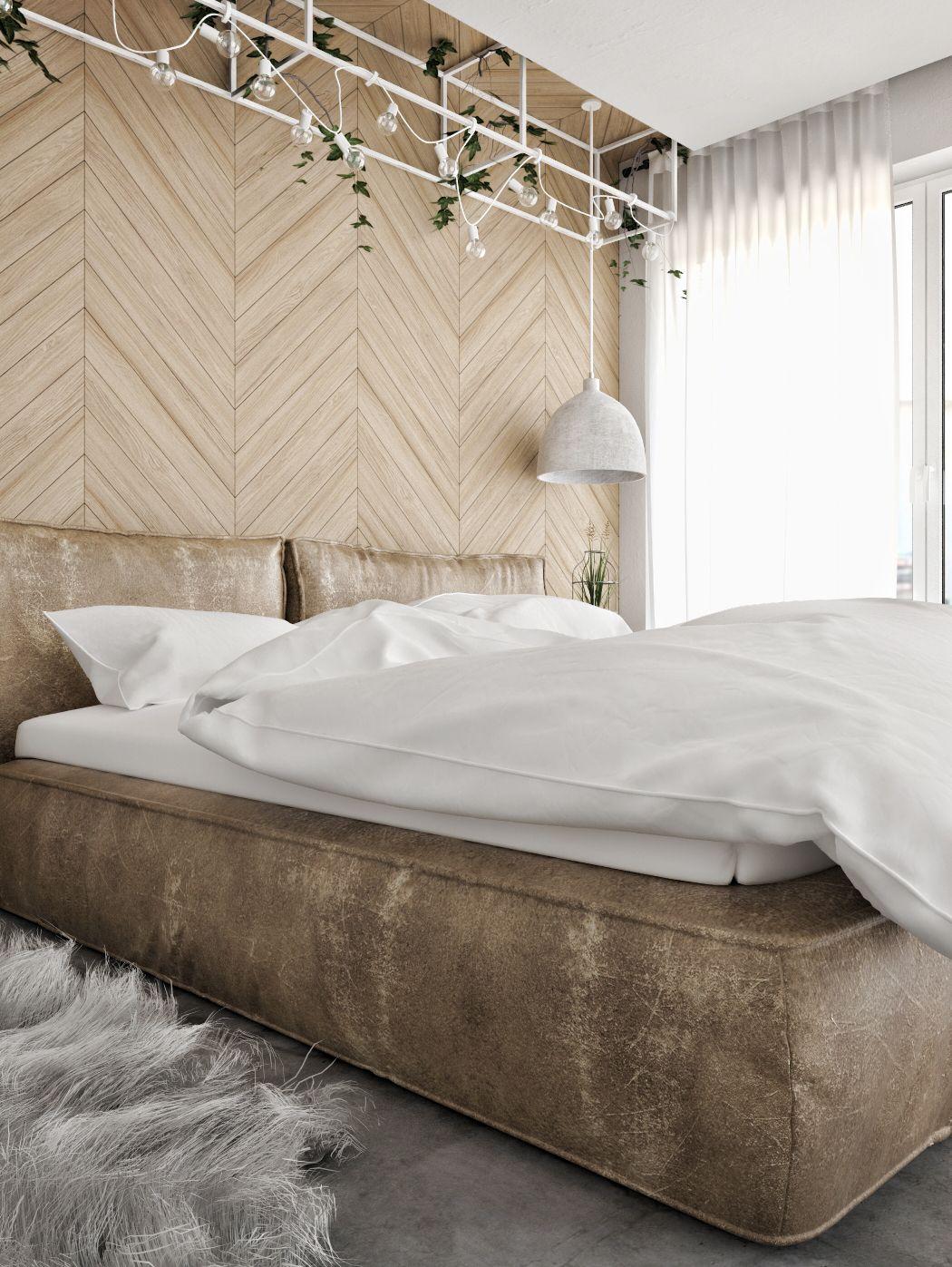 Slaapkamer met een betonvloer en een visgraat muur | Pinterest ...