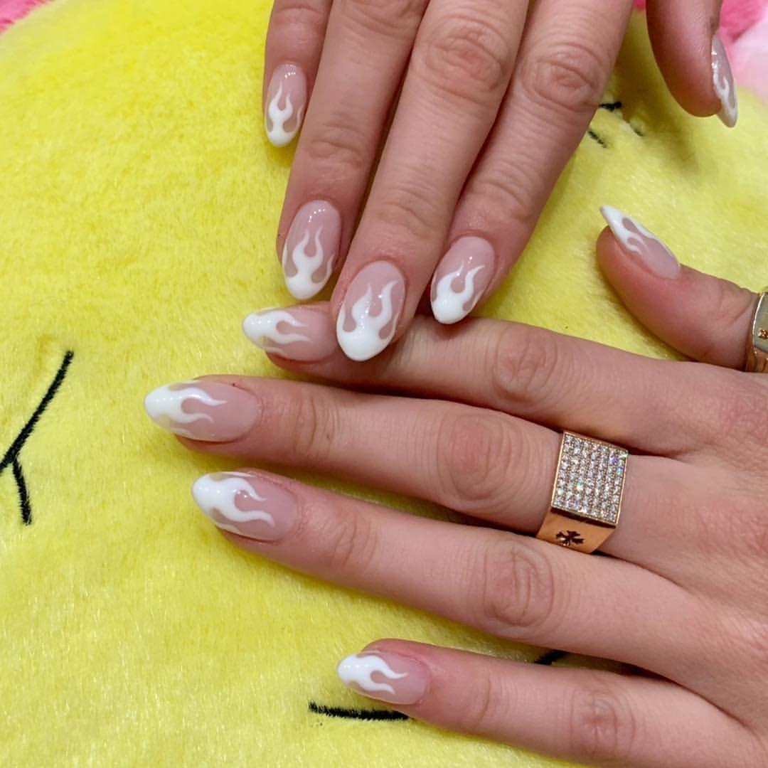 Cream White Flame For Bellahadid Happynewyear Nailsbymei Handpainted White Gel Nails Pretty Acrylic Nails Summer Gel Nails