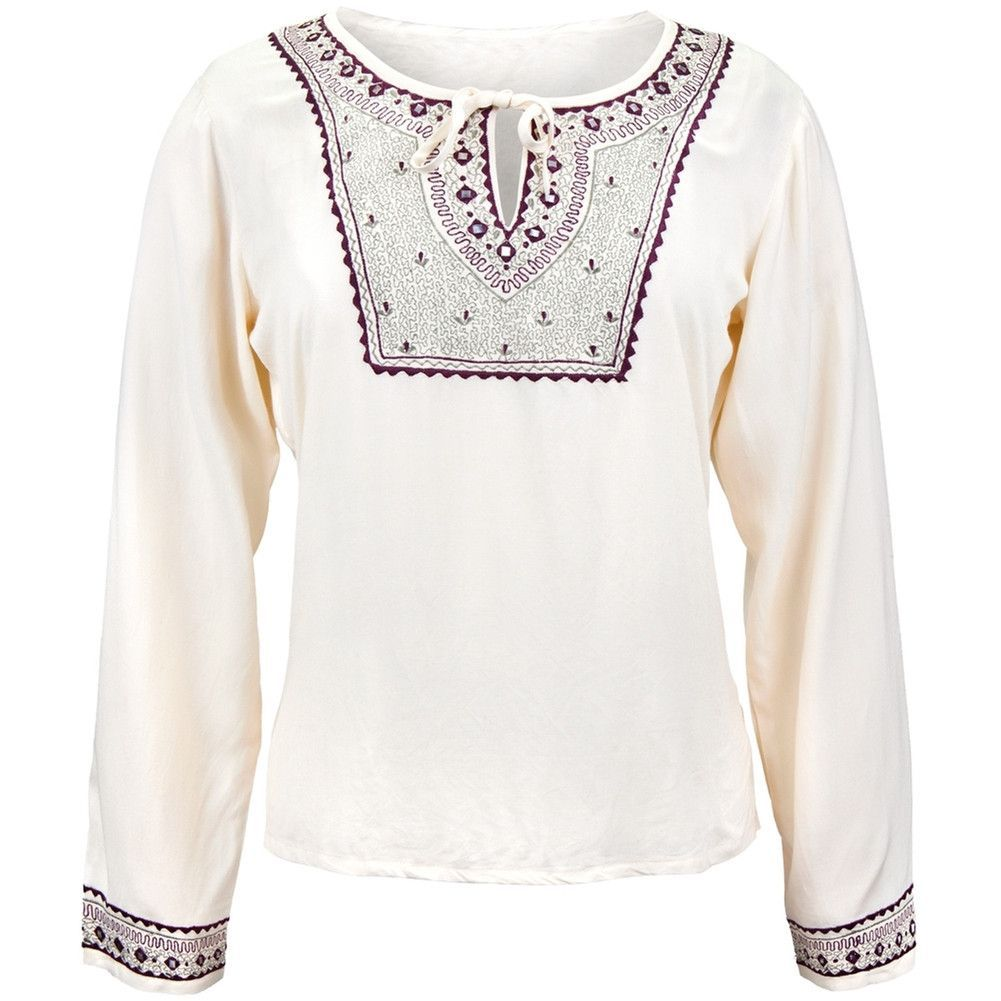 Mirrored Embriodery - Cream Blouse