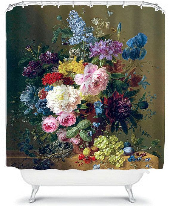 Vintage Fruit Painting Shower Curtain Floral by xOnceUponADesignx