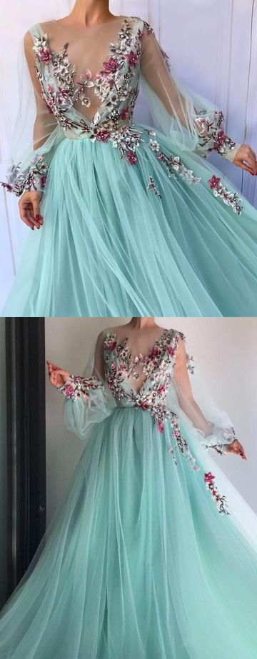 154181173e 2018 Chic A-line Scoop Prom Dresses With Floral Long Prom Dress Evening  Dresses AMY2146 in 2018