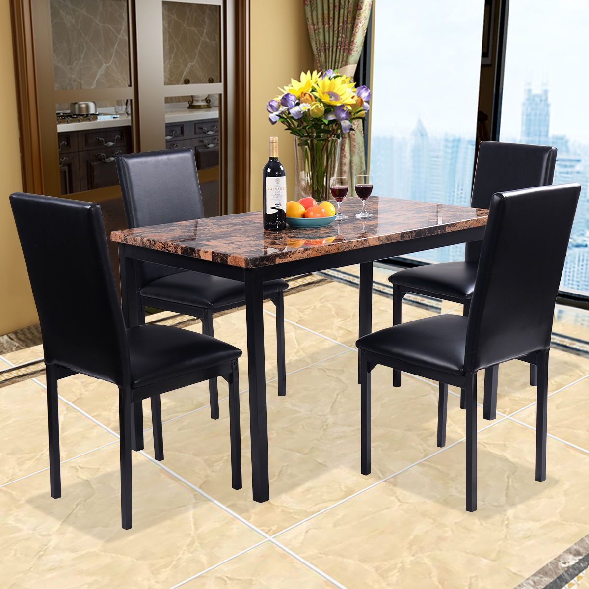 Kitchen bistro set   Piece Dining Set Faux Marble Table And  Chairs Kitchen Breakfast