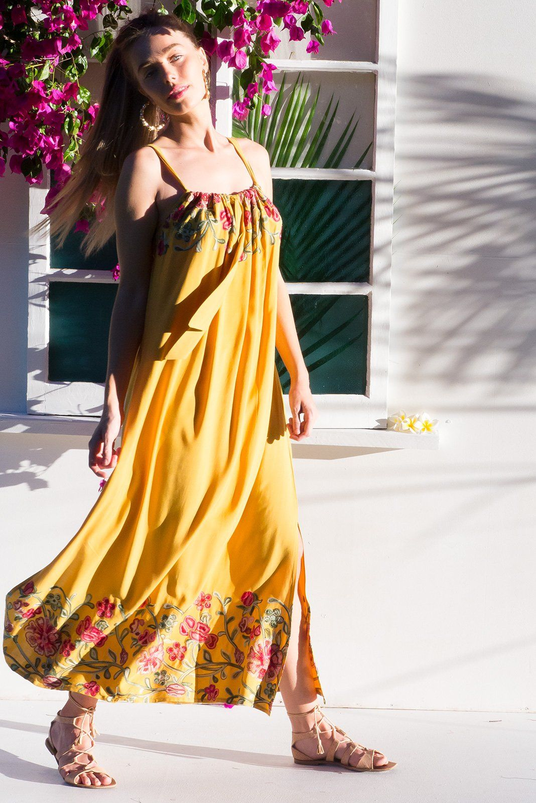 Island beach embroidered gold maxi dress tie up adjustable straps