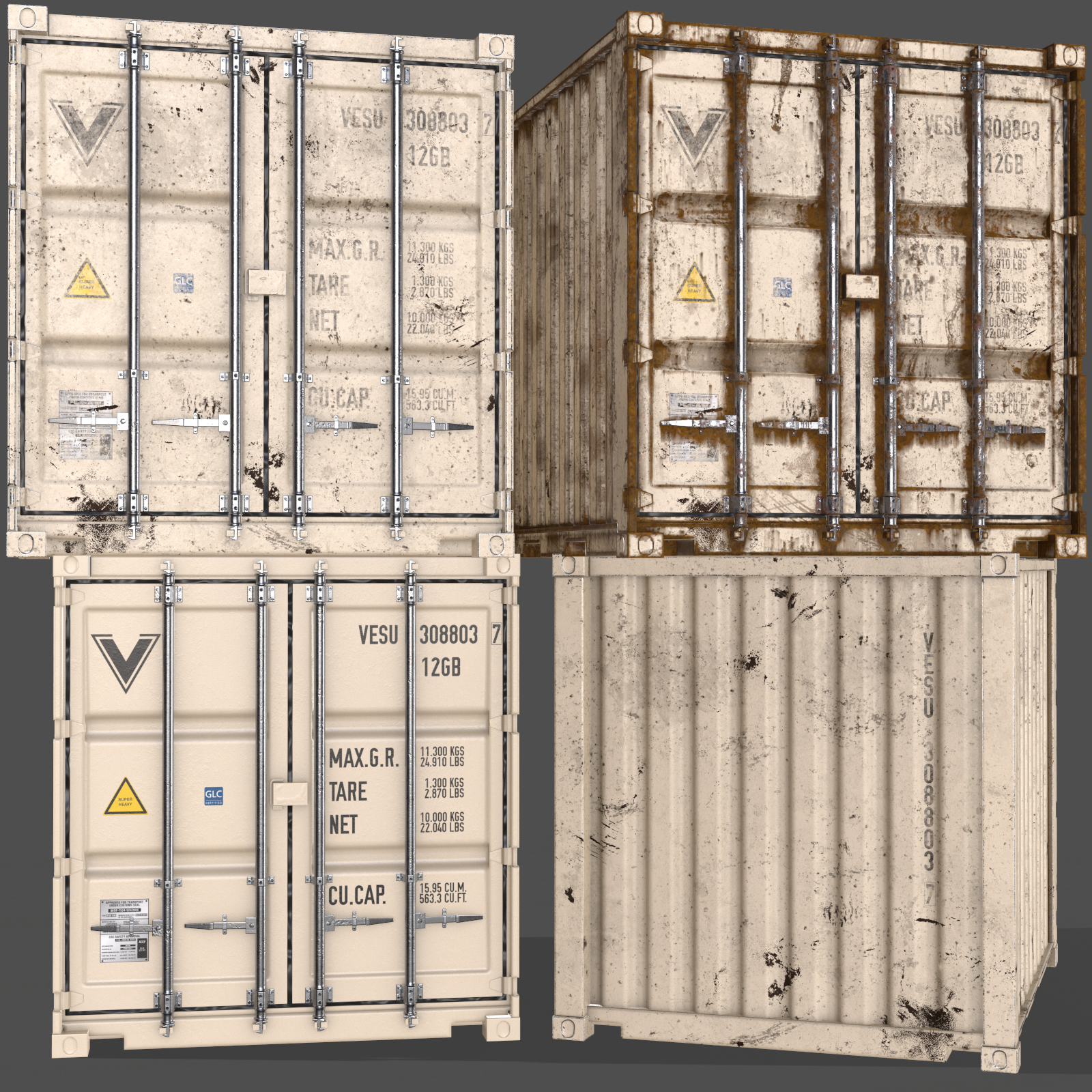 Pbr 10 Ft Storage Container White 3d Model In 2020 Low Poly 3d Models Container Pbr