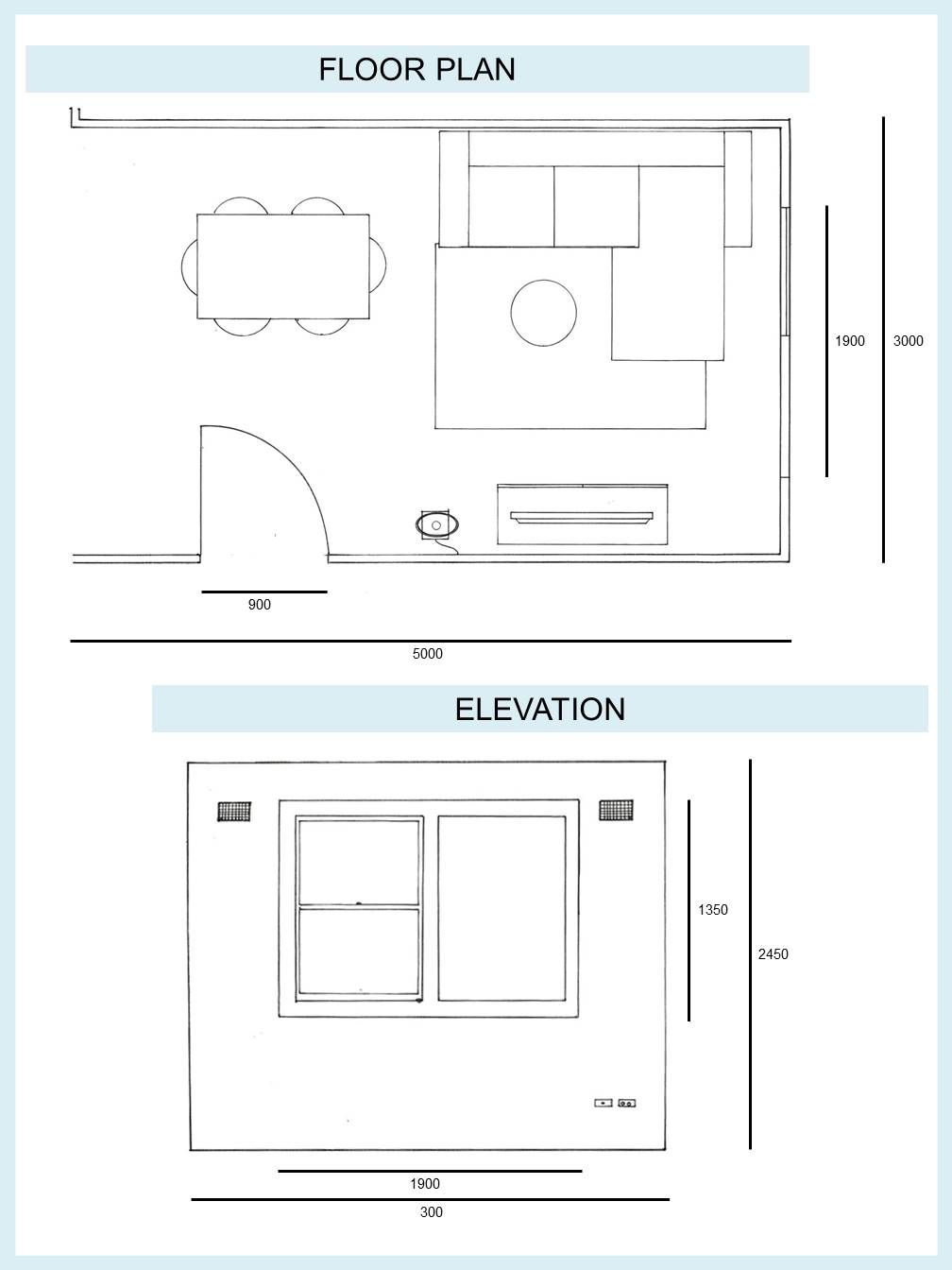 Drawing Floor Plan And Elevation Living Room Diploma Of