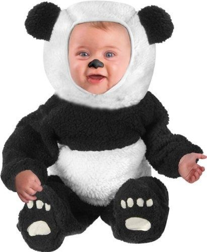 Model #:RL Panda Bear Baby Adult Costume Journey through the jungle as an exotic animal! Costume includes: Black and white zipper front stretch velvet dress with faux fur trimmed hood, panda bear face and pom pom ties.