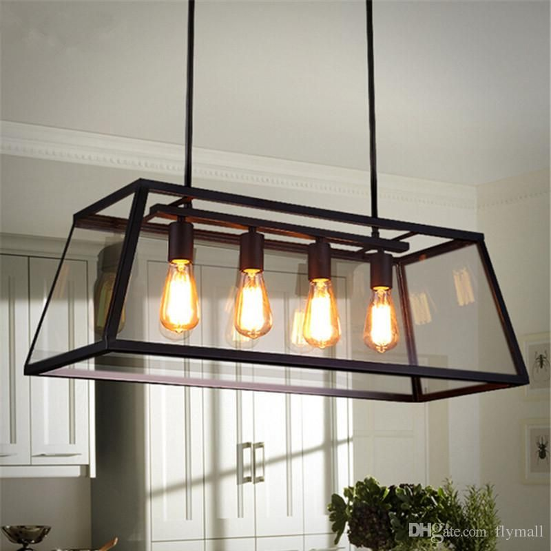 Loft Pendant Lamp Retro American Industrial Black Iron Glass Rectangular Chandelier Light Living Room Dining