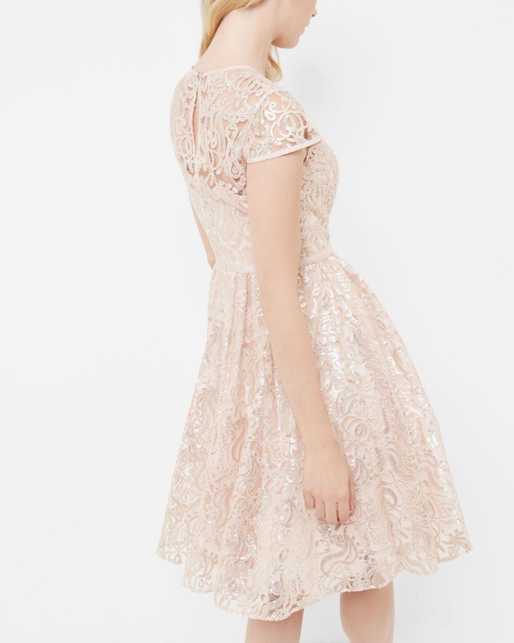 6f68388fb24e Sheer bodice sequin dress - Gold