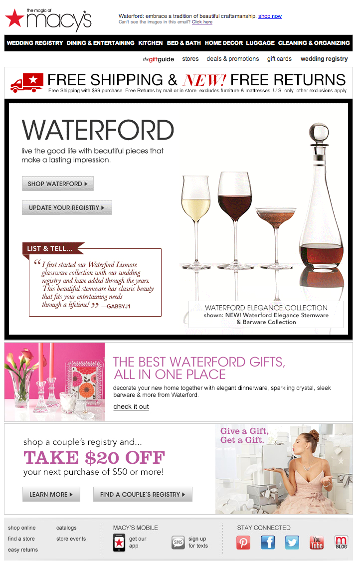 Macy's wedding registry email 2014 Macys wedding