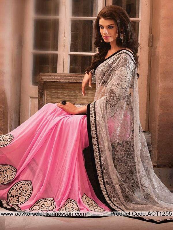 Light Pink White Sari   Desi   Pinterest   Ropa