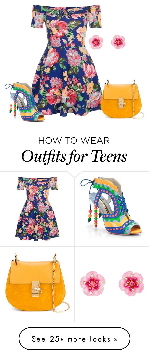 """Untitled #3049"" by roseunspindle on Polyvore featuring New Look, Miu Miu, Sophia Webster, Chloé, floral, Blue and orange"