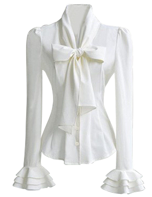 8a9b10bf2c22e PrettyGuide Women 50 s Retro Silky Bow Tie Shirts Blouse at Amazon Women s  Clothing store