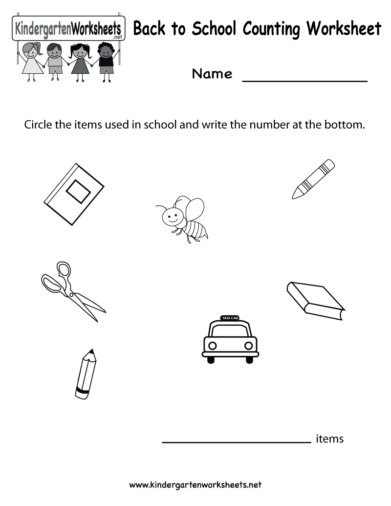 worksheet Kindergarten Back To School Worksheets kindergarten back to school counting worksheet printable free math for kids