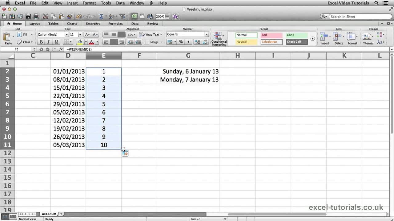 Microsoft Excel Tutorial WEEKNUM Function   Microsoft excel ...