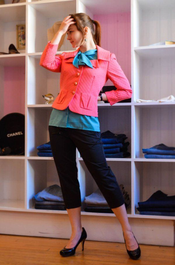 Teal shirt, Pink Jacket, Black Pumps from Duo Boutique. Read about summer office wear on www.damedestyle.com